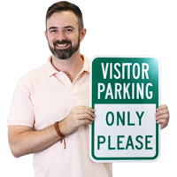 Reserved Parking For Visitor Only Sign
