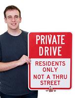 Residents Only Not A Thru Street Parking Sign