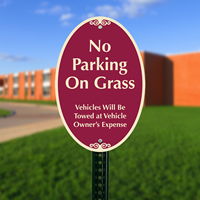 No Parking On Grass Vehicles Signs