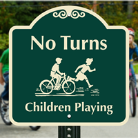 No Turns Children Playing with Graphic Signs