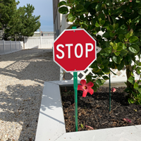 Stop sign witn stake for lawn or yard