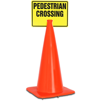 PEDESTRIAN CROSSING Cone Top Warning Signs