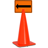 Left Arrow Pictorial Cone Top Warning Signs