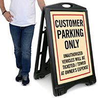Customer ParkingA-Frame Portable Sidewalk Sign