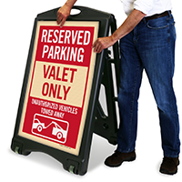 Reserved Parking Valet Only A-Frame Portable Sidewalk Sign