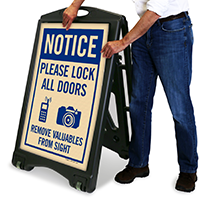 Please Lock All Door A-Frame Portable Sidewalk Sign