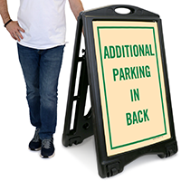 Additional Parking In Back A-Frame Portable Sidewalk Sign
