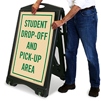 Drop-Off And Pick-Up Area A-Frame Portable Sidewalk Sign