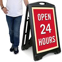 Open 24 Hour A-Frame Portable Sidewalk Sign