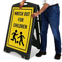 Wath For Children Safety A-Frame Portable Sidewalk Sign