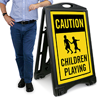 Children Playing A-Frame Portable Sidewalk Sign