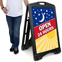 24 Hours Open Sidewalk Sign