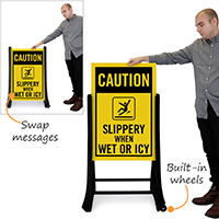 Slippery When Wet Or Icy Sidewalk Signs Kit