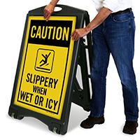 Slippery When Wet Sidewalk Sign