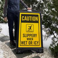 Caution Slippery A-Frame Portable Sidewalk Signs
