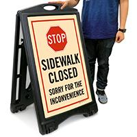 Stop Sidewalk Closed A-Frame Portable Sidewalk Sign
