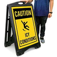 Icy Conditions Safety Sidewalk Sign