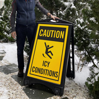 Caution - Icy Conditions Safety Sidewalk Sign