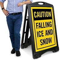Caution Falling Ice Sidewalk Sign