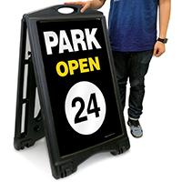 Park Open 24 Hour Portable Sidewalk Sign