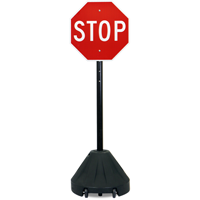 Roll 'n' Pole Portable Sign Holder With Black Base
