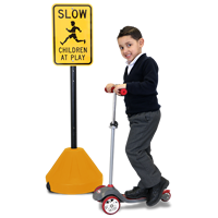 Roll 'n' Pole Portable Sign Holder with Yellow Base