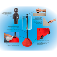 Red Roll 'n' Pole Portable Sign Holder
