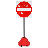 Roll 'n' Pole Danger Red Base with 54in. Pole