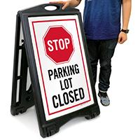 Parking Lot Closed A-Frame Portable Sidewalk Sign