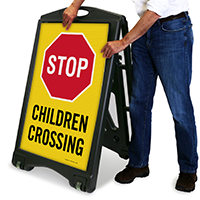 Children Crossing A-Frame Portable Sidewalk Sign