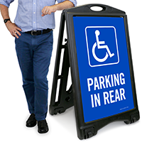 Accessible Parking In Rear A-Frame Sidewalk Sign