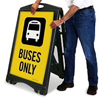 Buses Only Sign with Graphic