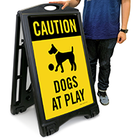 Caution - Dogs At Play Sign with Graphic