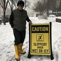 Caution Slippery When Wet Icy Sidewalk Signs