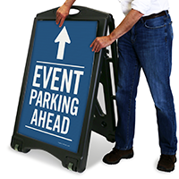 Event Parking Ahead with Up Arrow Sign