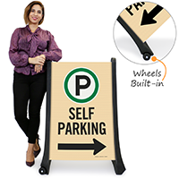 Self Parking With Directional Arrow Portable Sign