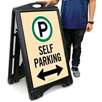 Self Parking with Bidirectional Arrow Portable Sign