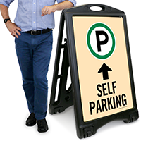 Self Parking Ahead with Up Arrow Portable Sign