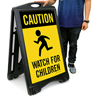 Watch For Children with Graphic Sidewalk Sign