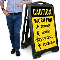 Watch For Children, Joggers, Bicyclists, Pedestrians with Graphic Sign