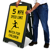 Watch For Children 5 Mph Sidewalk Signs