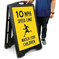 10 MPH Speed Limit, Watch For Children Sign