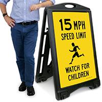 15 MPH Speed Limit, Watch For Children Sign