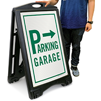 Parking Garage with Left/Right Arrow Sign
