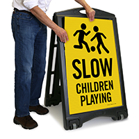 Slow - Children Playing Sign with Graphic