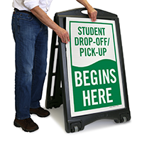 Drop-Off and Pick-Up, Begins Here Sign