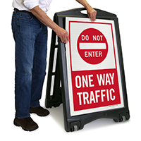 One Way Traffic Sign with Symbol