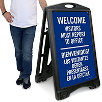 Welcome, Visitors Must Report To Office Sign