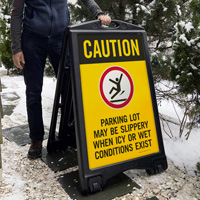 Caution Parking Lot May Be Slippery When Icy Sign