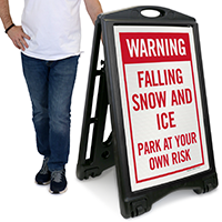 Falling Snow and Ice Warning Sign
